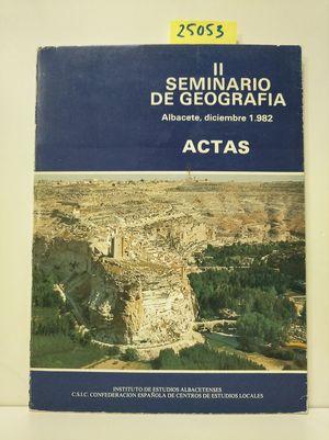 II SEMINARIO DE GEOGRAFÍA. ACTAS