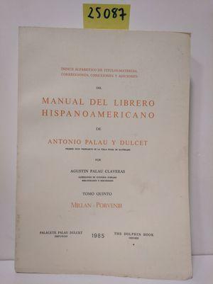 ÍNDICE DE TÍTULOS Y MATERIAS DEL MANUAL DEL LIBRERO HISPANO-AMERICANO