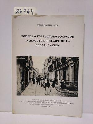 SOBRE ESTRUCTURA SOCIAL DE ALBACETE EN TIEMPO DE LA RESTAURACIÓN